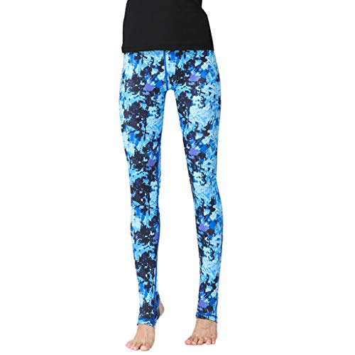 TANLANG Women Fashion Printed High-Waist Hip Stretch Running Fitness Yoga Pants Audrey Crop Slim Leg Pant Elastic Trousers Blue (Audrey Pant Capri)