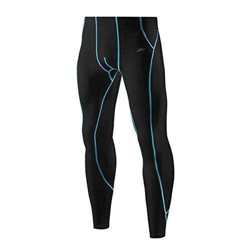 PASSWIN Men's Cool Dry Tights Sports Compression Base Layer Long Pants 3XL Black&Blue