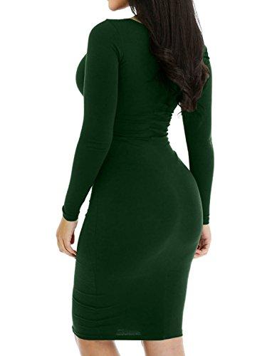 Mini Haola Sexy Dress Party Casual Long Slim Sleeve Darkgreen Club Dress Short Women's 5vw5qT