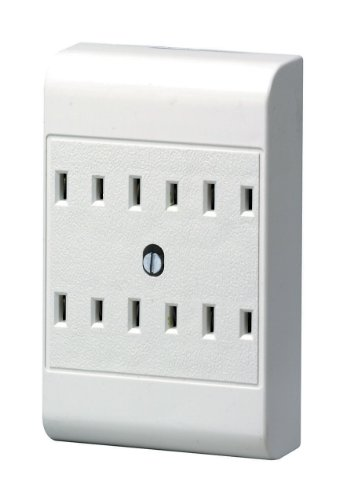 (Leviton 49687-W 15 Amp, 125 Volt, 2-Wire, 6-Outlet Adapter, White)
