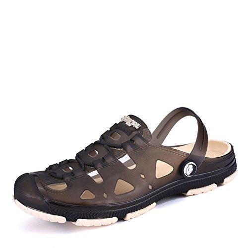 Xing Lin Sandalias De Hombre Zapatos Sandalias Zapatos Bolsa De Playa Café Chaqueta De Agua De Plástico De Plástico Antideslizante Ocio Baotou Transpirable Hueco De Ocio Diario black