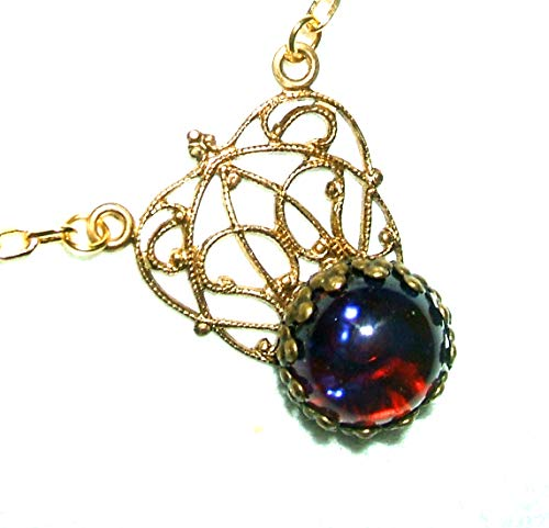(DRAGONS BREATH Filigree Edwardian NECKLACE ART DECO GOLD PLATED CZECH GLASS MEXICAN FIRE OPAL)