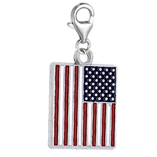 SEXY SPARKLES Clip on US Flag Charm Dangle Pendant for European Clip on Charm Jewelry with Lobster - Us Flag Charm