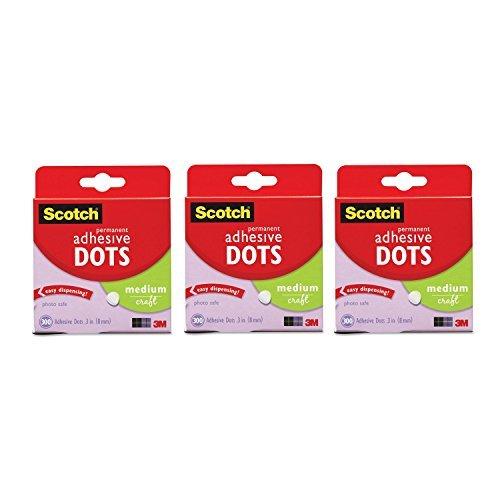Scotch 010300M3 617629616682 010-300M Craft Permanent Adhesive Dots, Medium, Pack of 900, kk
