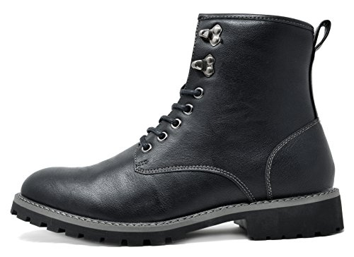Bruno Marc Men's Stone-01 Black Motorcycle Combat Dress Oxford Boots Size 11 M US