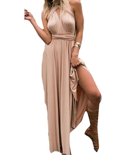 Coolred-femmes Taille Longue Robe Abricot Bas Robe Sexy Dos Cintrée
