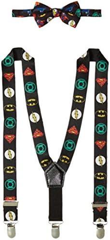 DC Comics Baby Boys Bowtie & Suspender Set Justice League Suspenders and Bowtie Infant