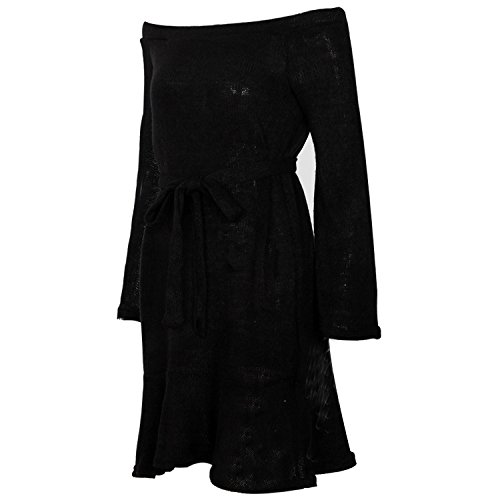 Printemps Femme Noir Tricot Uni Basique Manche Robe Semen Epaule Chaud Nue Longue Elastique Pull Robe PqAZ6d