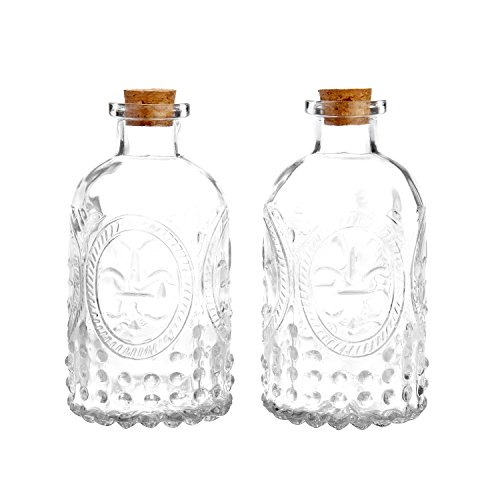 - Vintage Design Embossed Clear Glass Bottles, Apothecary Flower Bud Vase with Cork Lid, Set of 2