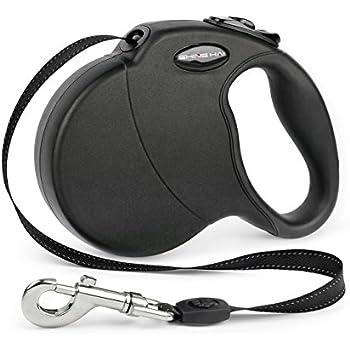SHINE HAI Retractable Dog Leash, 16ft Dog Walking Leash for Large Medium Small Dog Up to 110lbs, Break & Lock System, Reflective Ribbon Cord, Black