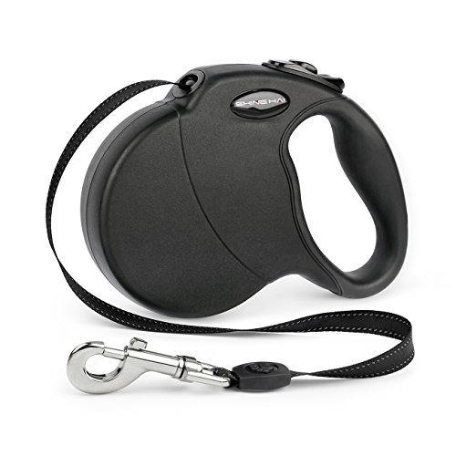SHINE HAI Retractable Dog Leash, 16ft Dog Walking Leash for Large Medium Small Dog Up to 110lbs, Break & Lock System, Reflective Ribbon Cord, Black