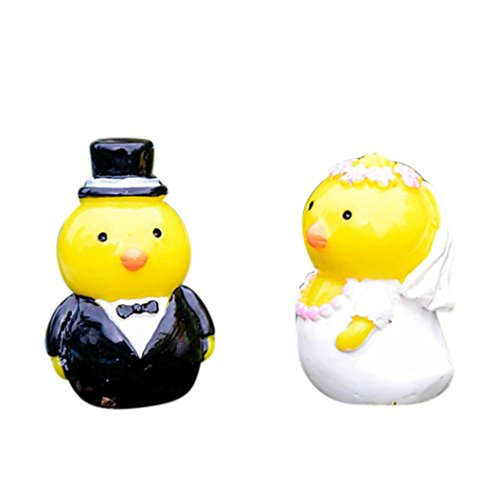 Easter Chicks Decoration, Sacow 2pc Miniature Resin Wedding Chickens DIY Craft Accessory Art Ornaments Little Yellow Chicken Easter Day Gifts
