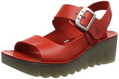 FLYA4|#Fly London Fly London P143907003, Sandalias de Cuñas Mujer Rojo (Scarlet 002)