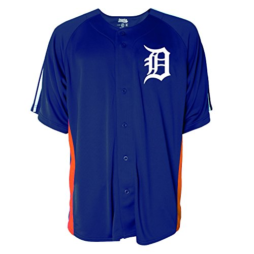 MLB Detroit Tigers Men's Button Down Fashion Jersey, Navy, Large