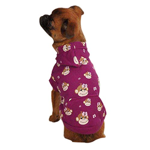 East Side Collection Polyester/Cotton Monkey Bus Waffle Dog Hoodie, Large, Tiff