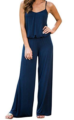 Ermonn Women's Stretch Cotton Suspender Elastic Waistband Wide Leg (Cotton Wide Leg Pants)