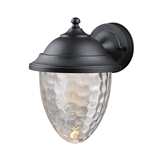 Hardware House LLC 21-1444# 1-Light Small Led Lantern Black Small Size Lantern Wall Fixture with 1-Light Comes with Clear Bubble Water Glass Uses (1) 10W Led Light Bulb-Included