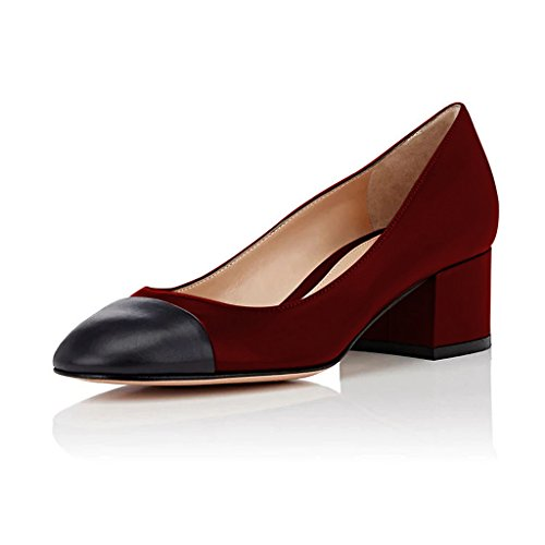FSJ Women Closed Toe Block Chunky Heels Pumps Versatile Slip On Black Dress Shoes Size 4-15 US Red-5 Cm SS8IPcJK9