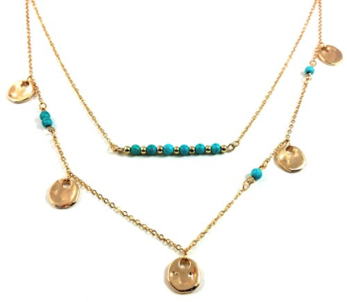 Pop Fashion Beautiful Silver Layered Turquoise Bead Necklace, Turquoise Double Layer Necklace for Women, Multilayer Necklace Silver circles, Gold Dual Layer Necklace MSRP - $59
