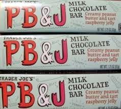 3 Bars Trader Joes Milk Chocolate Pb&J Peanut Butter&Jelly