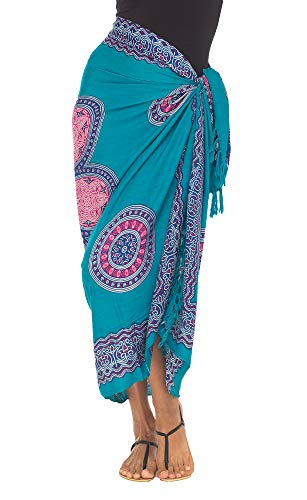 SHU-SHI Womens Beach Swimsuit Cover Up Flower Sarong Wrap with Coconut Clip Turquoise/Pink ()