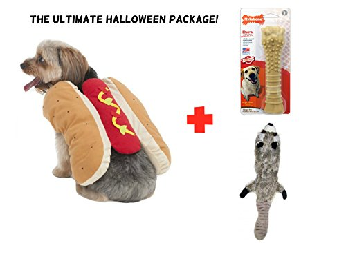 Dogs Accessories - Hot Dog Costume for Halloween - Plus Bonus Skinneeez Plush Raccoon and Nylabone Dura Chew Peanut Butter Bone - Combo Package - Holiday Special by Puppy (Animal Planet Raptor Dog Costume)