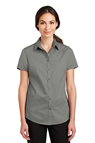 Port Authority Ladies Short Sleeve SuperPro Twill Shirt-L664-4XL ()