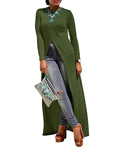 Womens Sexy High Front Split Long Sleeve Crewneck Clubwear Cocktail Maxi Dress Green 2XL