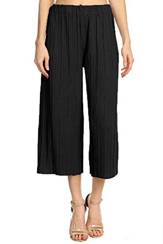 Anna-Kaci Womens Juniors Pleated Cropped High Waist Palazzo Wide Leg Capri Pants, Black, Onesize