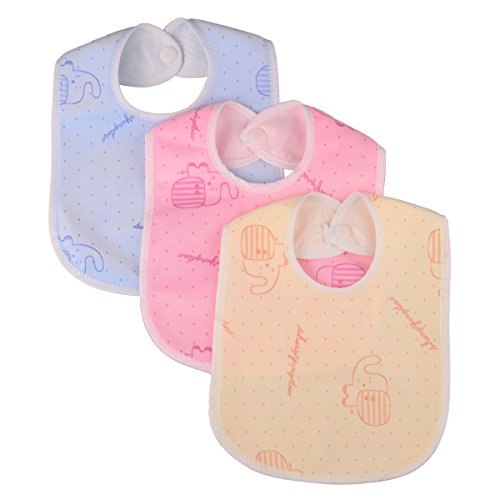 Zeltababy Waterproof Backing Drooler Dribble Bib Snap Button Velevt Fabric, 10 Pieces (Color & Patterns Sent at (Waterproof Lining)