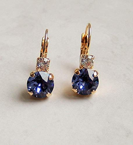 Blue Purple Faux Tanzanite Round Crystal Studded Top Leverback Earrings December Birthstone Gift Idea GP (Tanzanite Earring Womens)