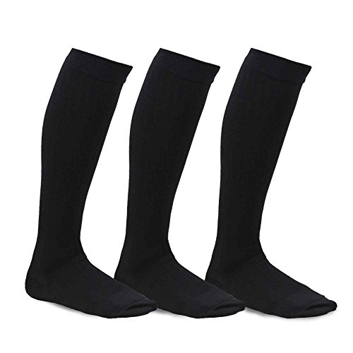 Bamboo Mens Shoes (TeeHee Viscose from Bamboo Compression Knee High Socks with Rib 3-Pack (Large (10-13), Black))