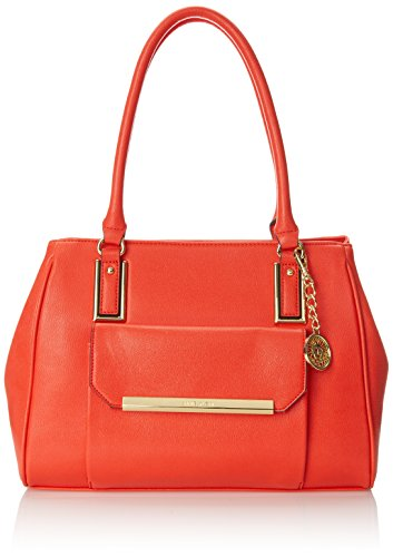 Anne Klein Shimmer Down Dome Satchel Top Handle Bag Sunset Orange One Size