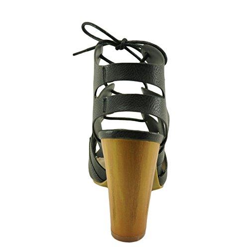 Donna Wildfire18v Di Bambù Allacciata Con Tacco Grosso Sandalo Con Tacco Nero