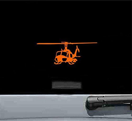 Uh1 Iroquois Huey LEFT Helicopter Gunship Vinyl Decal Sticker (ORANGE)