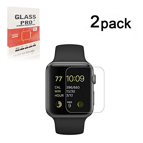 Apple Watch 42mm Screen Protector, TOPBIN 2 Pack [Anti-Scratch][Anti-Fingerprint] 9H Hardness Clear Tempered Glass [Easy Installation][Bubble Free]for Apple Watch 42mm Series 2, Series 3 (iWatch 42mm)