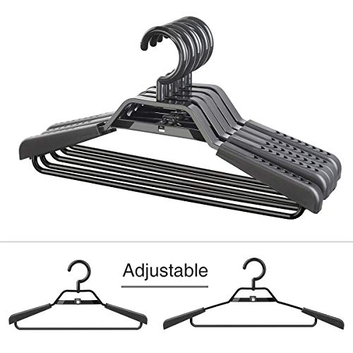 """rs Eco-Friendly 100% PP New Material Extra Wide Adjustable Shoulder Suits Coats Cascading Hangers Heavy Duty 15""""-20"""" Plus Size Garment Plastic Hangers with Swivel Hook 5 Pack ()"""