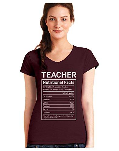 Camiseta de Cuello V para Mujer - Teacher Nutritional Facts - Regalo Original para Profesores: Amazon.es: Ropa y accesorios