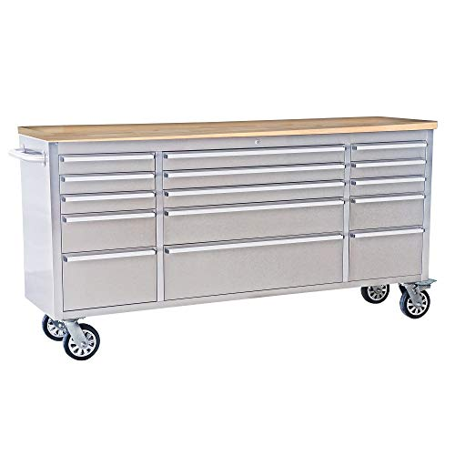 72' Wide 15 Drawer Stainless Steel Anti-Fingerprint Tool Chest with Work Station