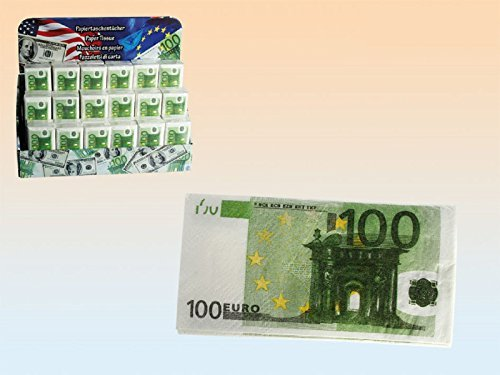 ??? 100 Euro Money Party Pocket Napkins Novelty Paper Tissue Joke Gag Fake Gift Facial Casino by Concept4u by