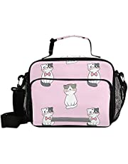 Lunch Bags Boxes Insulated Small Girls Cooler Kids Thermal Pink Cat Cute Kawaii for School Student with Shoulder Strap Water-Resistant