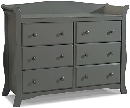 Home Square 6-Drawer Double Dresser and 5-Drawer Chest Nursery Furniture Set