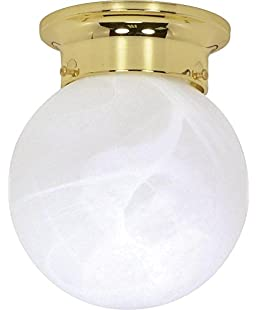 Nuvo Lighting 60/255 One Light Flush Mount, Polished Brass/Alabaster Glass