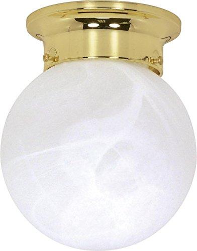 Nuvo Gothamシャンデリア 60/255 1 B002OMIYQY Polished Brass / Alabaster Glass|6インチ フラッシュ ボール Polished Brass / Alabaster Glass