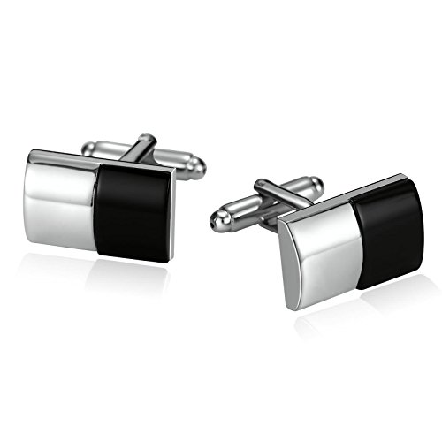- Epinki Mens Stainless Steel Rectangle Mother of Pearl and Black Agate Silver Black Cufflinks for Wedding