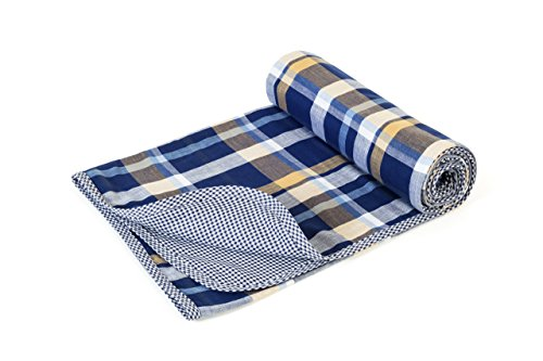 Henry and Bros. Large Double Layer Toddler Blanket, Girl Nap Blanket/Boy Nap Blanket, Light Blanket For Kids, Kids Blanket Patterns Made Of 100% Cotton (Rustic Navy and Gold Tartan)