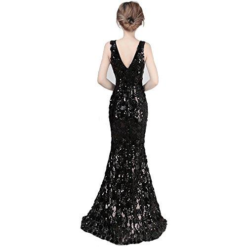 Black V Vestido con De Cola Ms De S Noche De Cuello Lentejuelas Host Pescado Vestido Party Vestido Largo De 2018 FFLLAS Vestido pqRAff