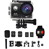 Action Camera, Sencam 4K WiFi Ultra HD 30-Meter Waterproof Sports Camera 170 Wide Angle Lens with Accessories Kits (Black)