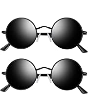 Joopin Solglasögon herr polariserade vintage glasögon dam UV400-skydd retro rund metalltram solglasögon för körning resor
