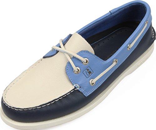 Boat Island Unisex Casual Zapatos De Cuero Hechos A Mano De Antemano Zapatos Navy Blanco